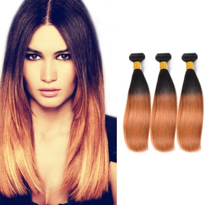 "16""-26"" Indian Ombre Hair Straight 3pcs Two Tone Color #1B/30 Remy Human Hair 300g"