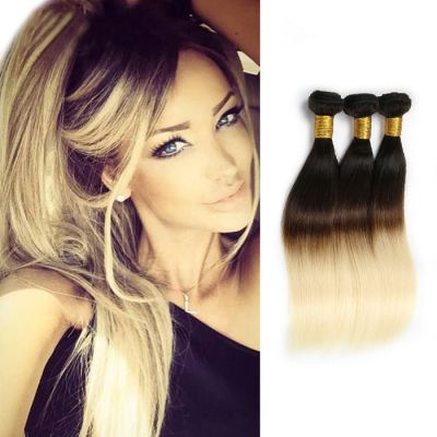 Ombre Hair Extensions Sun-Kissed Two Tone #1B/613 Straight Indian Remy Human Hair 3pcs/lot 300g
