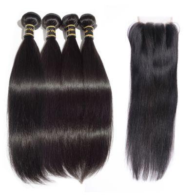 4 Bundles Straight Brazilian Virgin Hair 400g With 4*4 Straight Three Part Closure