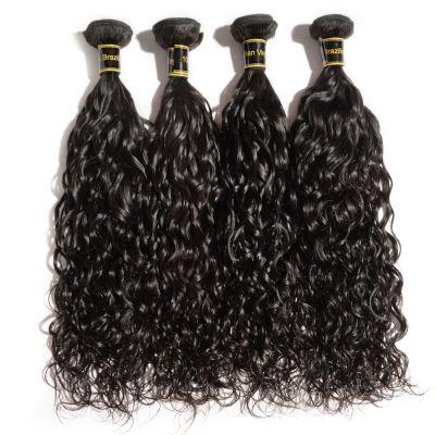 "10""-30"" 4 Bundles Natural Wavy 7A Virgin Brazilian Hair Natural Black 400g"