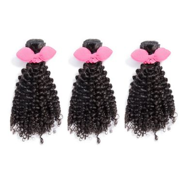 "14""-20"" 3 Bundles Jerry Curly Virgin Brazilian Hair Natural Black 300g"