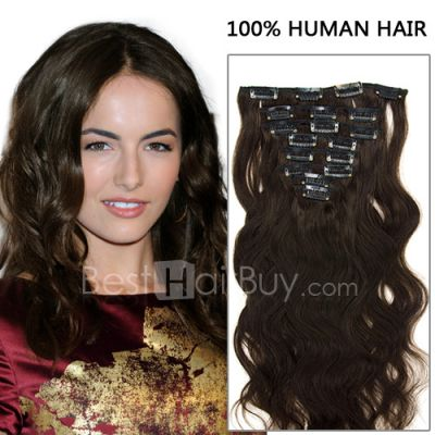 16 Inch 8pcs Authentic Body Wavy Clip In Remy Human Hair Extensions 100g (#2 Darkest Brown)