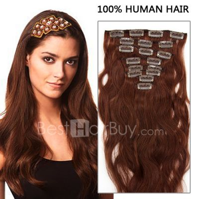 18 Inch 8pcs Body Wavy Clip In Remy Human Hair Extensions 100g (#33 Rich Copper Red)