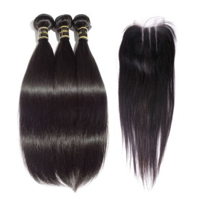 3 Bundles Straight Brazilian Virgin Hair 300g With Three Part 4*4 Lace Frontal