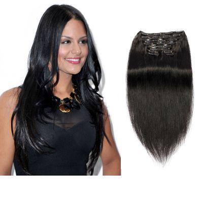160g 20 Inch #1 Jet Black Straight Clip In Hair