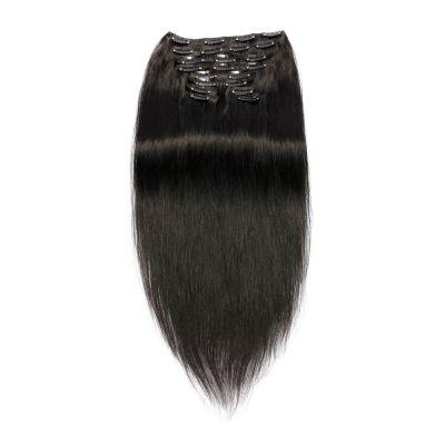 220g 24 Inch #1 Jet Black Straight Clip In Hair