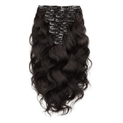160g 20 Inch #1B Natural Black Body Wavy Clip In Hair