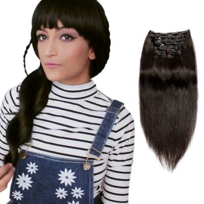 120g 18 Inch #1B Natural Black Straight Clip In Hair