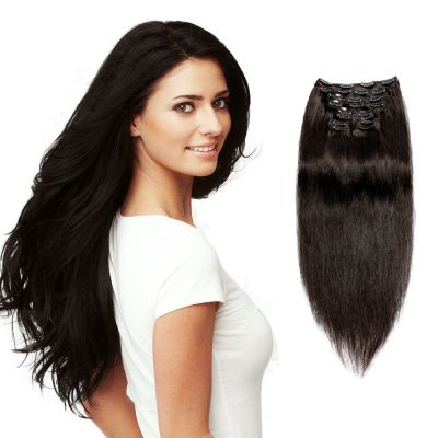200g 22 Inch #1B Natural Black Straight Clip In Hair