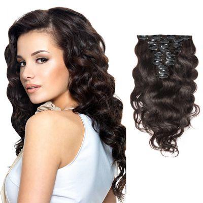 120g 18 Inch #2 Darkest Brown Body Wavy Clip In Hair