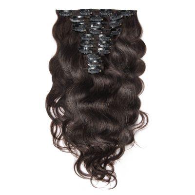 220g 24 Inch #2 Darkest Brown Body Wavy Clip In Hair