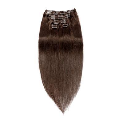 220g 24 Inch #2 Darkest Brown Straight Clip In Hair