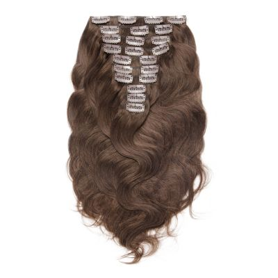 160g 20 Inch #4 Chocolate Brown Body Wavy Clip In Hair