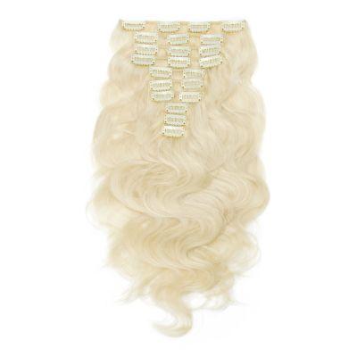 220g 24 Inch #60 Platium Blonde Body Wavy Clip In Hair