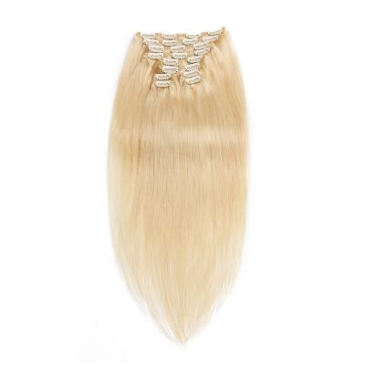 120g 18 Inch #60 Platium Blonde Straight Clip In Hair