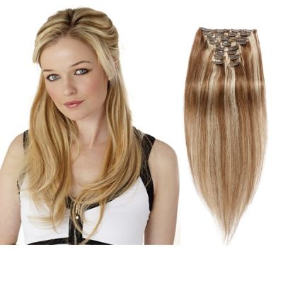 160g 20 Inch #8/613 Straight Clip In Hair