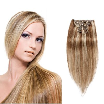 200g 22 Inch #8/613 Straight Clip In Hair
