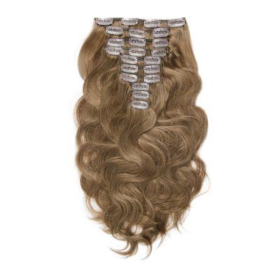 160g 20 Inch #8 Light Brown Body Wavy Clip In Hair