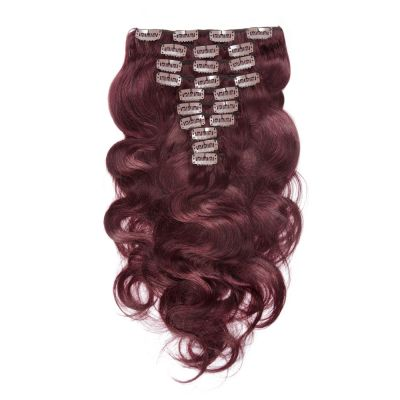220g 24 Inch #99J Boday Wavy Clip In Hair
