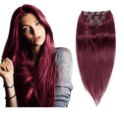160g 20 Inch #99J Straight Clip In Hair