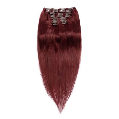 220g 24 Inch #99J Straight Clip In Hair