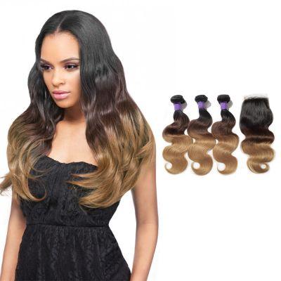 #1B/4/27 Ombre Hair Closure 1pcs With Brazilian Hair Weave 3pcs Body Wavy