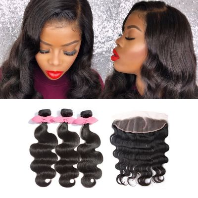 3 Bundles Body Wavy Brazilian Virgin Hair 300g With Pre Plucked Left Side C Part 13x4 Lace Frontal