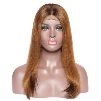 Pre-Plucked Brazilian Virgin Hair Lace Front Ombre Brown Long Bob Wigs