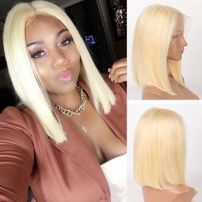Pre-Plucked Brazilian Virgin Hair Lace Front #613 Straight Bob Wigs
