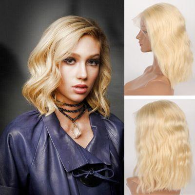 Pre-Plucked Brazilian Virgin Hair Lace Front #613 Body Wavy Bob Wigs