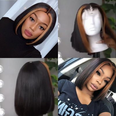 Blonde Highlight Straight Custom Lace Front Bob Unit