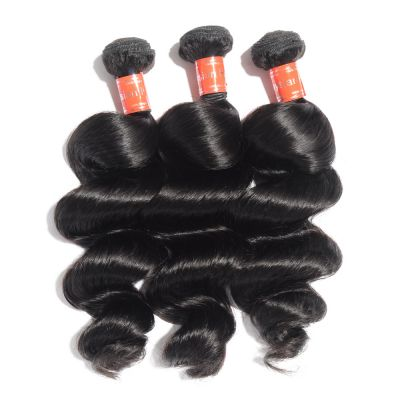 "10""-30"" 3 Bundles Loose Wavy Virgin Malaysian Hair Natural Black 300g"