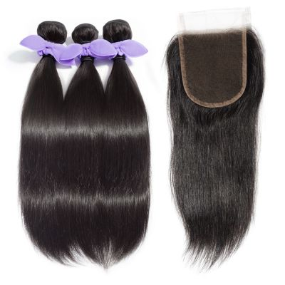 3 Bundles Straight 8A Malaysian Virgin Hair 300g With 4*4 Free Part Lace Closure