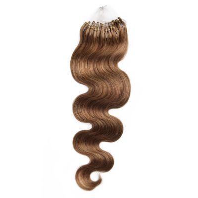 100s 1g/s Body Wavy Micro Loop Hair Extensions #8 Light Brown