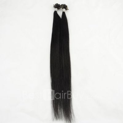 100s 0.5g/s Straight Nail/U Tip Remy Hair Extensions #1 Jet Black