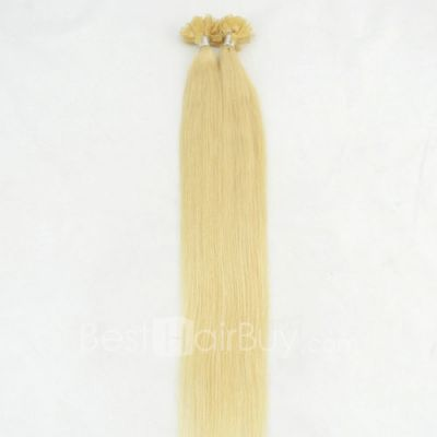 100s 0.5g/s Straight Nail/U Tip Remy Hair Extensions #613 Lightest Blonde