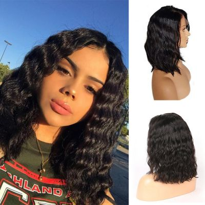 Pre-Plucked Brazilian Virgin Hair Natural Wavy Bob Wigs