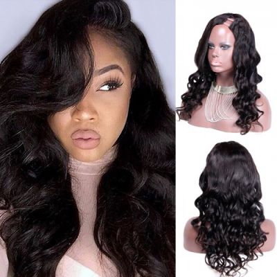 22 Inch #1B Body Wavy Indian Remy Hair U part Wigs PWU14