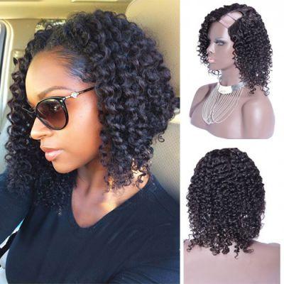 12 Inch #1B Kinky Curly Indian Remy Hair U part Wigs PWU27