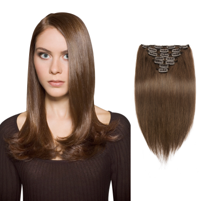 70g 16 Inch #4 Chocolate Brown Straight Clip In Hair