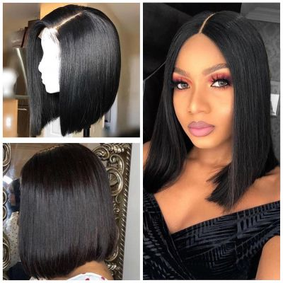 Pre-Plucked Brazilian Virgin Hair Lace Front Bob Wigs