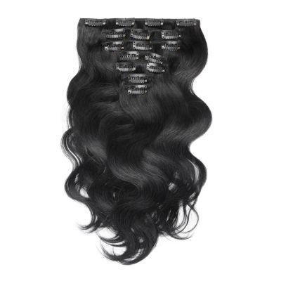 USA Stock 100g 18 Inch #1 Jet Black Body Wavy Clip In Hair PC945