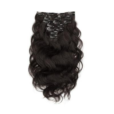 USA Stock 100g 18 Inch #1B Natural Black Body Wavy Clip In Hair PC946