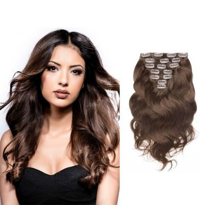 USA Stock 100g 18 Inch #4 Chocolate Brown Body Wavy Clip In Hair PC948