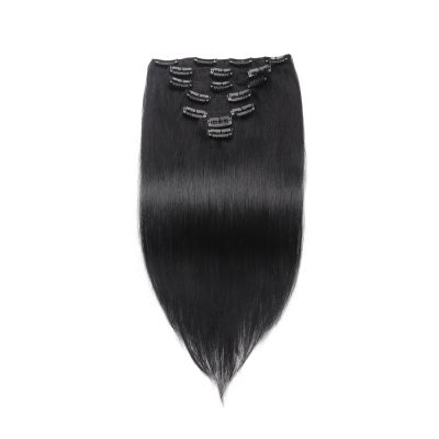 USA Stock 100g 18 Inch #1 Jet Black Straight Clip In Hair PC950