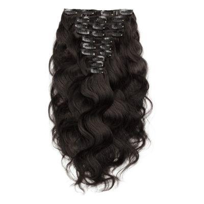 200g 22 Inch #1B Natural Black Body Wavy Clip In Hair