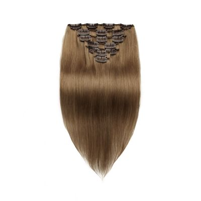 100g 18 Inch #8 Light Brown Straight Clip In Hair