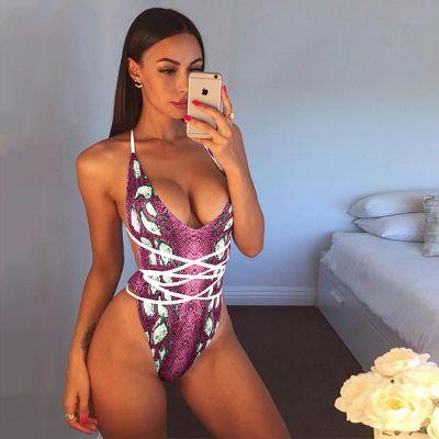 Bandeau Snakeskin High Cut Bikini SW1204 - Purple L