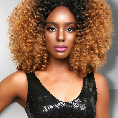 Lace Front Synthetic Hair Wig PWS438 Kinky Curly