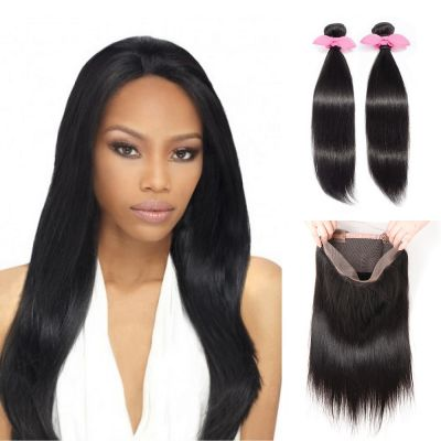 USA Stock 360 Lace Frontal Band with 2 Bundles Straight 8A Brazilian Virgin Hair